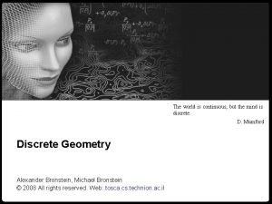 Numerical geometry of nonrigid shapes Discrete Geometry 1