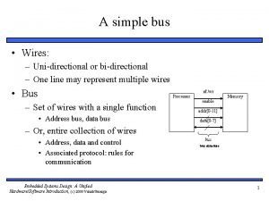 A simple bus Wires Unidirectional or bidirectional One