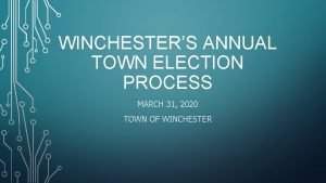 WINCHESTERS ANNUAL TOWN ELECTION PROCESS MARCH 31 2020