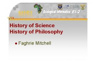 History of Science History of Philosophy l Faghrie