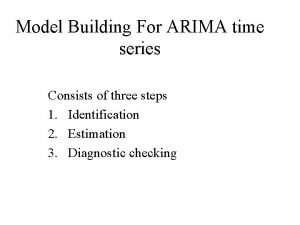 Model Building For ARIMA time series Consists of