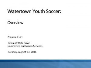 Watertown Youth Soccer Overview Prepared for Town of