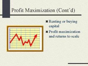 Profit Maximization Contd Renting or buying capital Profit