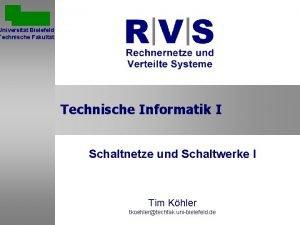 Universitt Bielefeld Technische Fakultt Technische Informatik I Schaltnetze