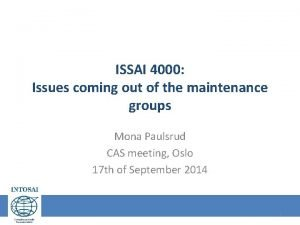 ISSAI 4000 Issues coming out of the maintenance