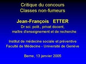 Critique du concours Classes nonfumeurs JeanFranois ETTER Dr