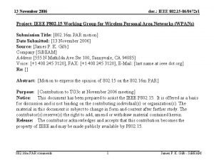 13 November 2006 doc IEEE 802 15 060472