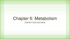 Chapter 6 Metabolism ENERGY AND ENZYMES Cellular Metabolism