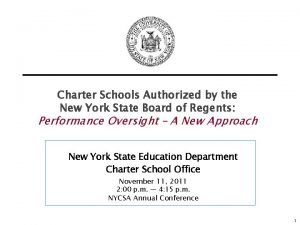 Charter Schools Authorized by the New York State