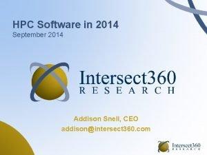 HPC Software in 2014 September 2014 Addison Snell