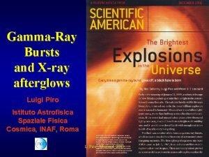 GammaRay Bursts and Xray afterglows Luigi Piro Istituto