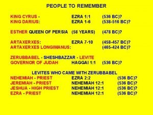 PEOPLE TO REMEMBER KING CYRUS KING DARIUS EZRA