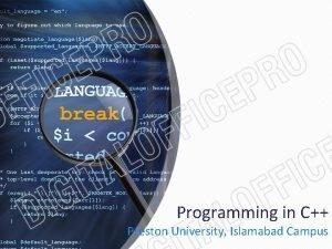 Programming in C Preston University Islamabad Campus Lecturers