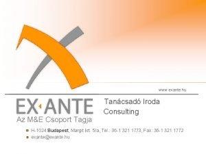 www exante hu Az ME Csoport Tagja Tancsad