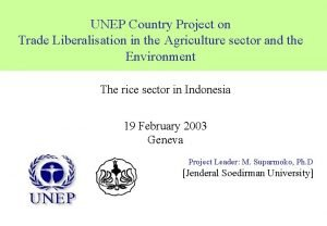 UNEP Country Project on Trade Liberalisation in the