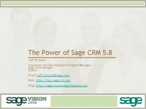 The Power of Sage CRM 5 8 Jeff