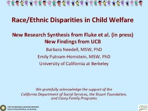 RaceEthnic Disparities in Child Welfare New Research Synthesis