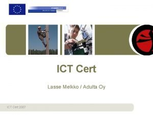 ICT Cert Lasse Melkko Adulta Oy ICT Cert