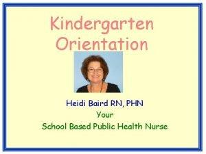 Kindergarten Orientation Heidi Baird RN PHN Your School