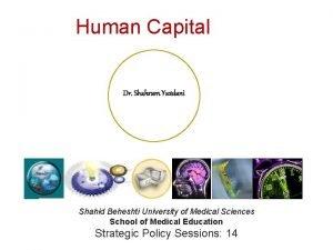 Human Capital Dr Shahram Yazdani Shahid Beheshti University
