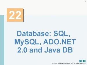 1 22 Database SQL My SQL ADO NET