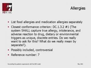 Allergies List food allergies and medication allergies separately