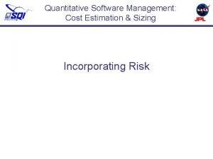 Quantitative Software Management Cost Estimation Sizing Incorporating Risk