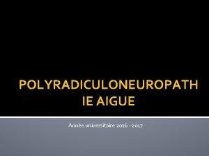 POLYRADICULONEUROPATH IE AIGUE Anne universitaire 2016 2017 PLAN