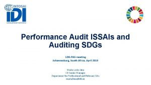 Performance Audit ISSAIs and Auditing SDGs 12 th