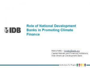 Role of National Development Banks in Promoting Climate