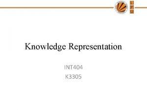 Knowledge Representation INT 404 K 3305 Knowledge Representation