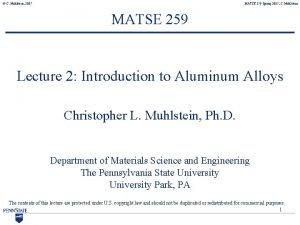 C Muhlstein 2007 MATSE 259 Spring 2007 C