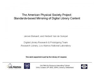 The American Physical Society Project Standardsbased Mirroring of