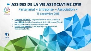 ASSISES DE LA VIE ASSOCIATIVE 2018 Partenariat Entreprise