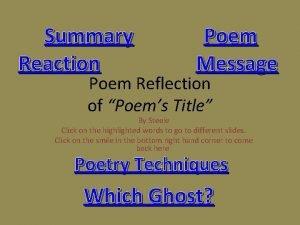 Summary Reaction Poem Message Poem Reflection of Poems