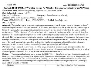 March 2001 doc IEEE 802 15 01170 r