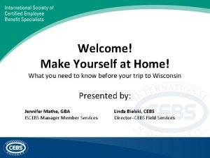 Welcome Make Yourself at Home What you need