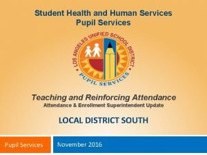 Student Health and Human Services Pupil Services Teaching