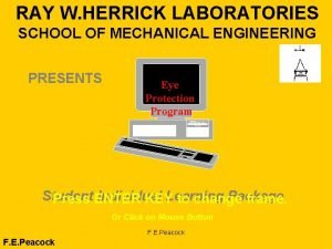RAY W HERRICK LABORATORIES SCHOOL OF MECHANICAL ENGINEERING