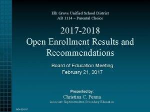 Elk Grove Unified School District AB 1114 Parental