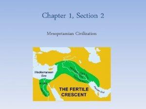Chapter 1 Section 2 Mesopotamian Civilization Mesopotamias Civilization