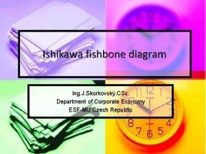 Ishikawa fishbone diagram Ing J Skorkovsk CSc Department