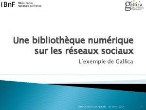 Une bibliothque numrique sur les rseaux sociaux Lexemple
