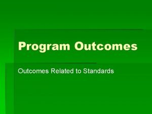 Program Outcomes Related to Standards Definition Outcomes are