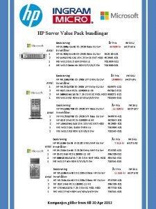 HP Server Value Pack bundlingar Antal 1 2