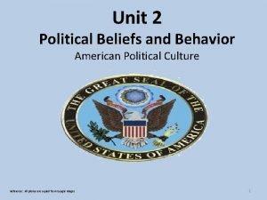 Unit 2 Political Beliefs and Behavior American Political