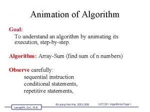 Animation of Algorithm Goal To understand an algorithm