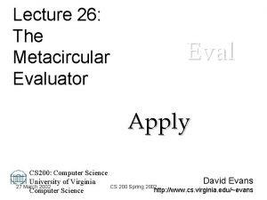 Lecture 26 The Metacircular Evaluator Eval Apply CS