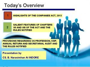 Todays Overview 1 HIGHLIGHTS OF THE COMPANIES ACT