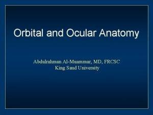 Orbital and Ocular Anatomy Abdulrahman AlMuammar MD FRCSC